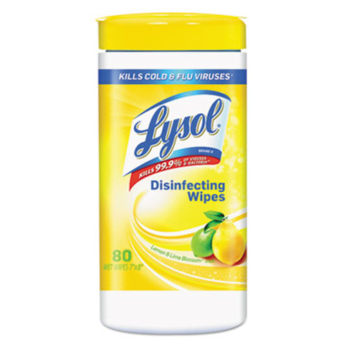 LYSOL Disinfecting Wipes, Lemon and Lime Blossom, White, 7 x 8, 80/Can, 6 Cans/CT (RAC77182CT)