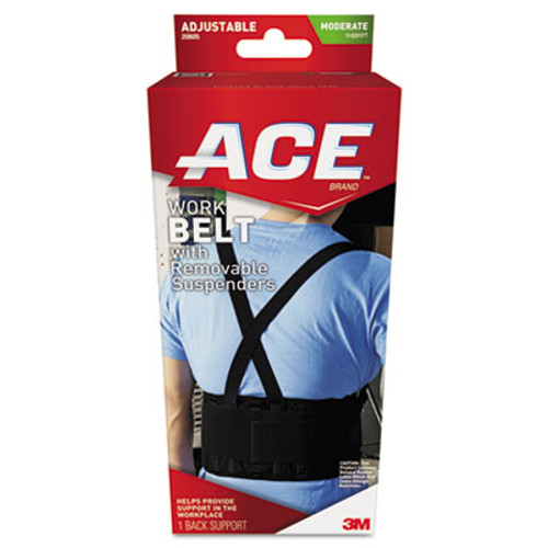 ACE Work Belt with Removable Suspenders, One Size Adjustable, Black (MMM208605)