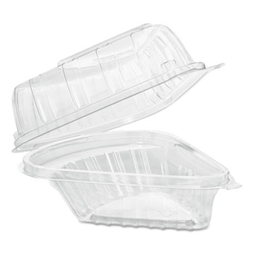 Dart Showtime Clear Hinged Containers, Pie Wedge, 6 2/3 oz, Plastic, 125/PK, 2 PK/CT (DCC C54HT1)