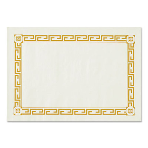 Hoffmaster Placemats, Greek Key Pattern, Paper, Gold/White, 14 x 10, 1000/Carton (HFM PP41000)