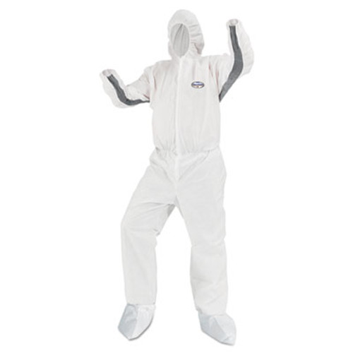 KleenGuard* A80 Chemical Permeation/Jet Fluid Protective Coveralls, Large, White, 25/Carton (KCC 46173)