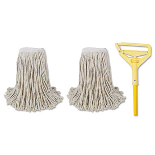 "Boardwalk Cut-End Mop Kits, #24, Natural, 60"" Metal/Plastic Handle, Yellow (BWK 5324-C)"