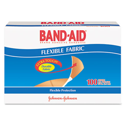 "BAND-AID Flexible Fabric Premium Adhesive Bandages, 3/4"" x 3"", 100/Box (JON 4434)"