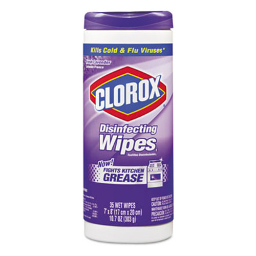 Clorox Disinfecting Wipes, 7 x 8, Fresh Lavender, 35/Canister, 12/Carton (CLO 01654CT)