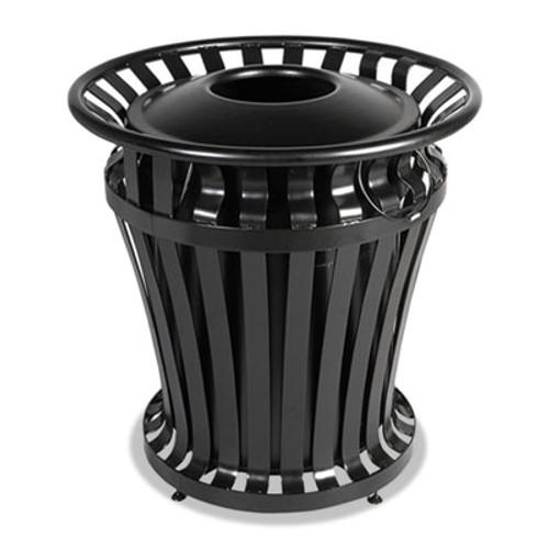 Rubbermaid WeatherGard Series Container, Round, Steel, 32 gal, Black (RCP 4021 BLA)