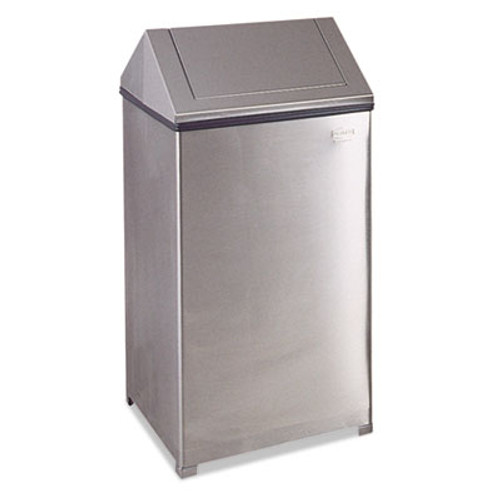 Rubbermaid Fire-Safe Swing Top Receptacle, Square, Steel, 40 gal, Stainless Steel (RCP T1940SSRB)
