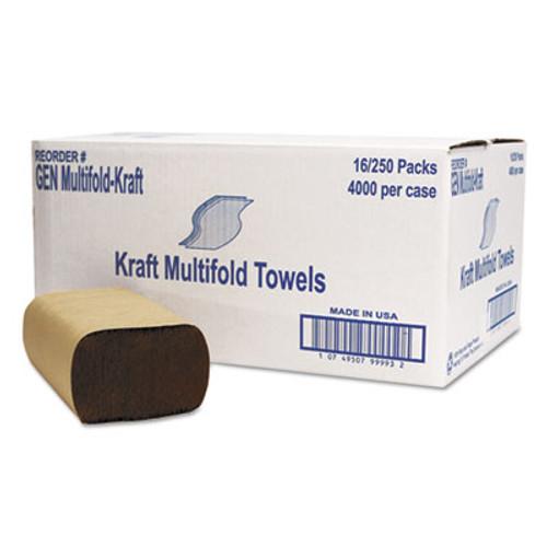 GEN Multifold Towel, 1-Ply, Brown, 250/Pack, 16 Packs/Carton (GEN MFLD KFT)