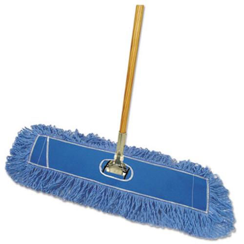 """Boardwalk Looped-End Dust Mop Kit, 36 x 5, 60"""" Metal/Wood Handle, Blue/Natural (BWK HL365BSP-C)"""
