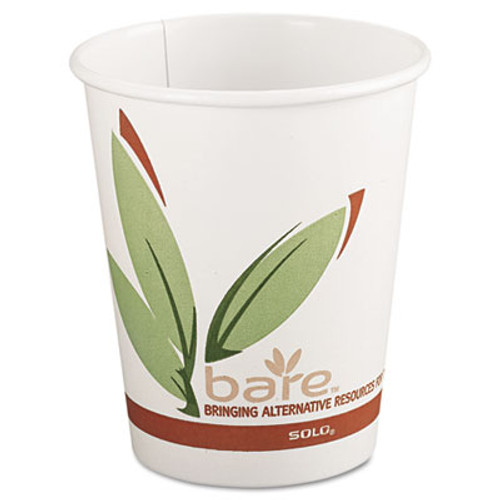 Dart Bare by Solo Eco-Forward Recycled Content PCF Paper Hot Cups, 8 oz, 1,000/Carton (SCC 378RC)