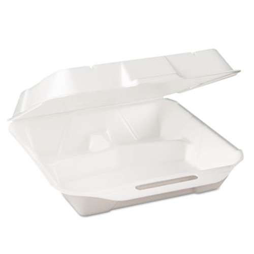 Genpak Jmb Foam Hinged-Lid Deli Containers, WH, 9 1/4 x 3 1/4 x 10 1/4, 100/PK, 2 PK/CT (GNP 25300V)