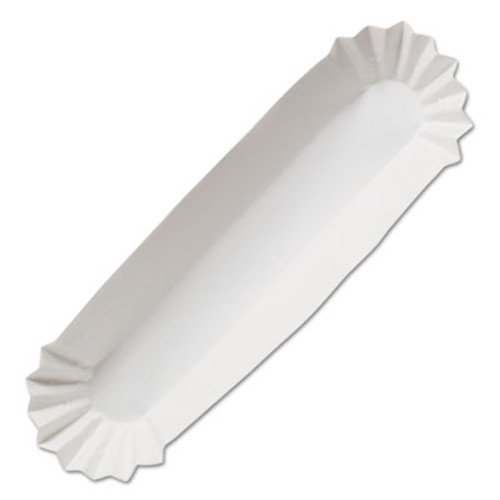 "Hoffmaster Fluted Hot Dog Trays, 10"" x 1 5/8 x 1 1/4"", White, 250/Pack, 12/Carton (HFM 610735)"
