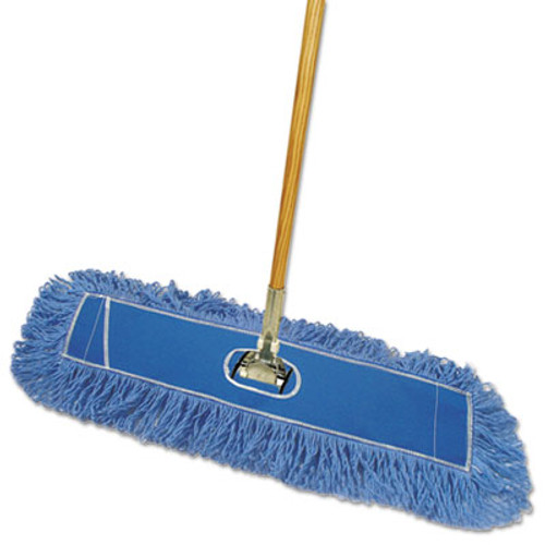 "Boardwalk Looped-End Dust Mop Kit, 24 x 5, 60"" Metal/Wood Handle, Blue/Natural (BWK HL245BSP-C)"