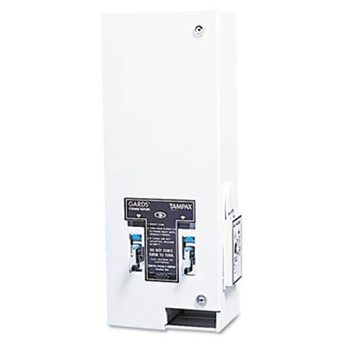 HOSPECO Dual Sanitary Napkin/Tampon Dispenser, Coin, Metal, 10 x 6 1/2 x 26 1/4, White (HOS125)