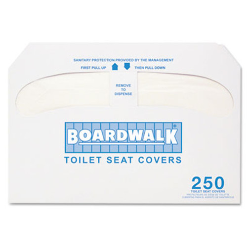 Boardwalk Premium Half-Fold Toilet Seat Covers, 250 Covers/Sleeve, 20 Sleeves/Carton (BWKK5000)
