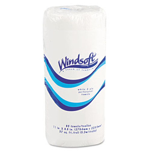 "Windsoft Perforated Paper Towel Rolls, 11"" x 8 4/5"", White, 85/Roll, 30 Rolls/Carton (WIN122085CT)"