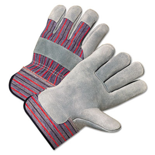 Anchor Brand 2000 Series Leather Palm Gloves, Gray/Red, Large, 12 Pairs (ANR2100)