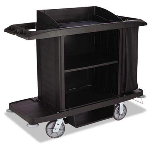 Rubbermaid Housekeeping Cart, 22w x 60d x 50h, Black (RCPFG618900BLA)