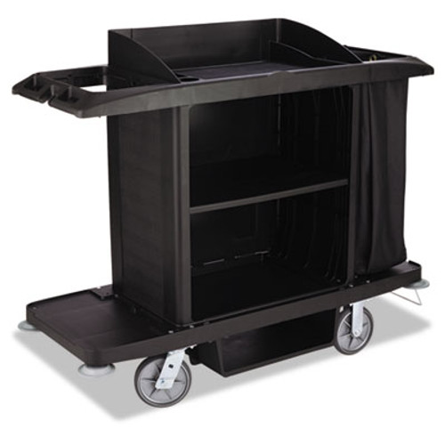 Rubbermaid Housekeeping Cart, 22w x 60d x 50h, Black (RCPFG618900BLA)