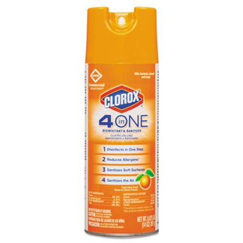 Clorox 4-in-One Disinfectant & Sanitizer, Citrus, 14oz Aerosol, 12/Carton (CLO31043CT)
