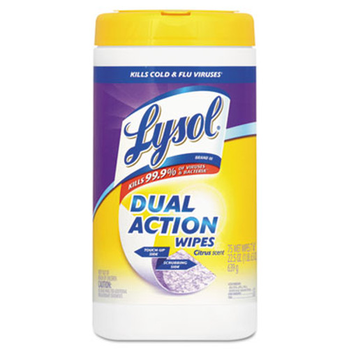 LYSOL Dual Action Disinfecting Wipes, Citrus, 7 x 8, 75/Canister, 6/Carton (RAC81700CT)