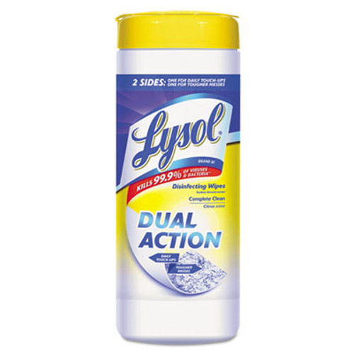 LYSOL Dual Action Disinfecting Wipes, Citrus, 7 x 8, 35/Canister (RAC81143CT)