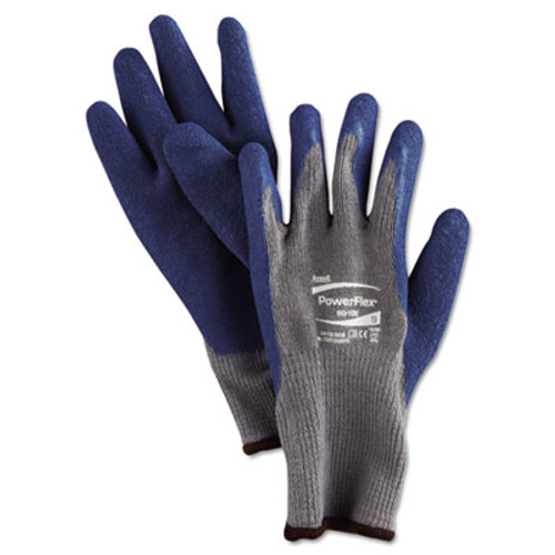 AnsellPro PowerFlex Gloves, Blue/Gray, Size 9, 1 Pair (ANS801009PR)