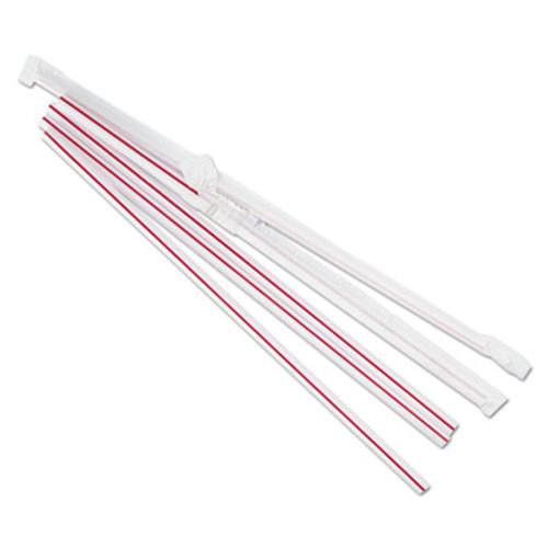 "Boardwalk Jumbo Straws, 7 3/4"", Plastic, Red w/White Stripe, 500/Pack, 24 Pack/Carton (BWKJSTW775S24)"