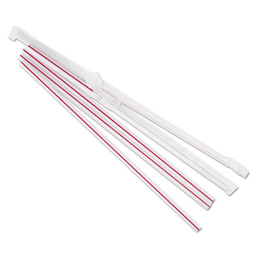 "Boardwalk Jumbo Straws, 7 3/4"", Plastic, Red w/White Stripe, 500/Pack, 24 Pack/Carton (BWKJSTW775S24)"