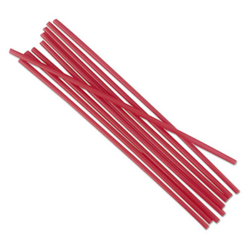 "Boardwalk Unwrapped Single-Tube Stir-Straws, 5 1/4"", Red, 1000/Pack, 10/Carton (BWKSTRU525R10)"