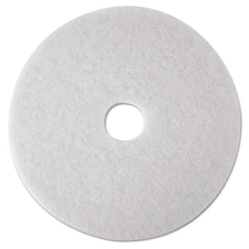 "3M Low-Speed Super Polishing Floor Pads 4100, 16"" Diameter, White, 5/Carton (MMM08480)"