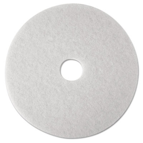 "3M Low-Speed Super Polishing Floor Pads 4100, 16"" Diameter, White, 5/Carton (MMM08480)"