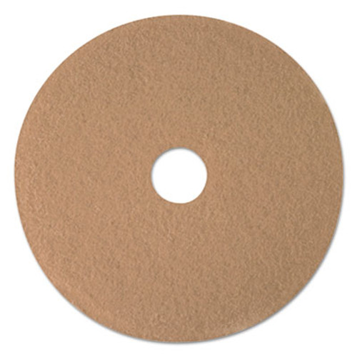 "3M Ultra High-Speed Floor Burnishing Pads 3400, 17"" Diameter, Tan, 5/Carton (MMM05604)"