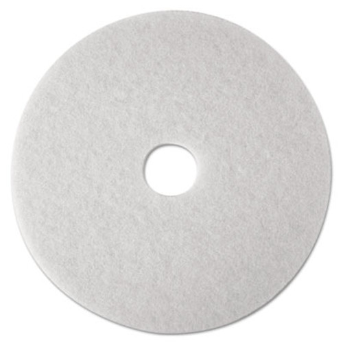 "3M Low-Speed Super Polishing Floor Pads 4100, 14"" Diameter, White, 5/Carton (MMM08478)"
