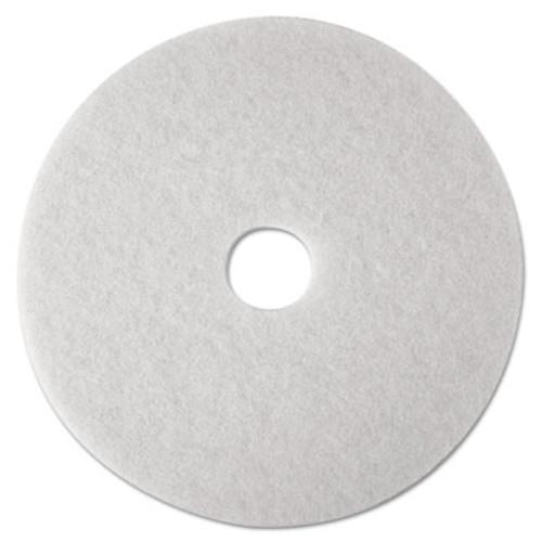"3M Low-Speed Super Polishing Floor Pads 4100, 18"" Diameter, White, 5/Carton (MMM08482)"