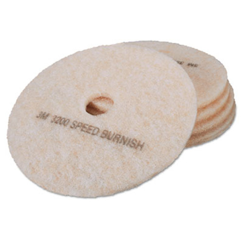 "3M Ultra High-Speed TopLine Floor Burnishing Pads 3200, 19"" Dia., White/Amber, 5/CT (MMM18065)"