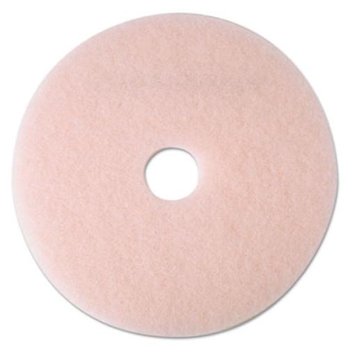 "3M Ultra High-Speed Eraser Floor Burnishing Pad 3600, 24"" Diameter, Pink, 5/Carton (MMM25861)"