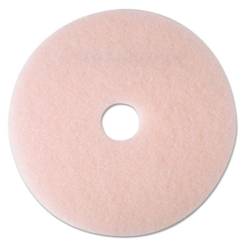 "3M Ultra High-Speed Eraser Floor Burnishing Pad 3600, 24"" Diameter, Pink, 5/Carton (MMM25861)"