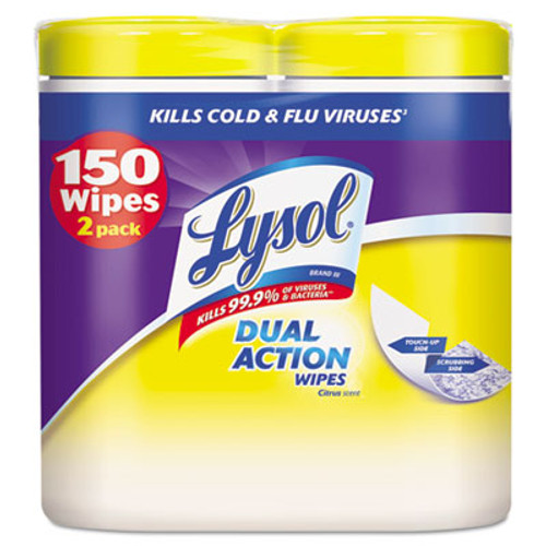 LYSOL Disinfecting Wipes, Dual Action, 7 x 8, Citrus, 75/Canister, 2/Pack, 3PK/CT (RAC84922CT)