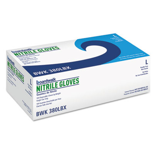 Boardwalk Disposable General-Purpose Nitrile Gloves, Large, Blue, 100/Box (BWK380LBX)