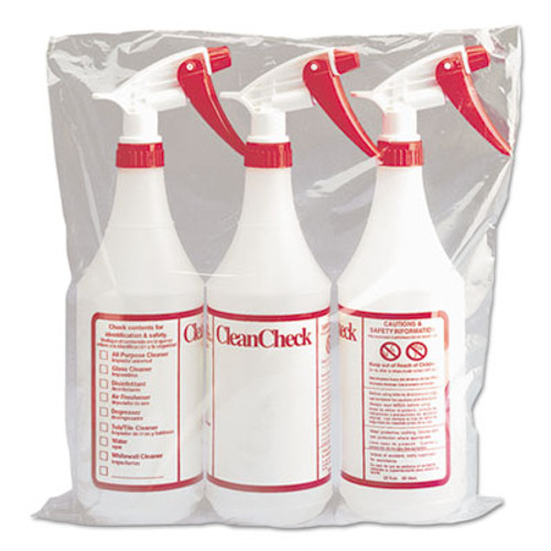 Boardwalk Trigger Spray Bottle, 32 oz, Clear/Red, HDPE, 3/Pack (BWK03010)