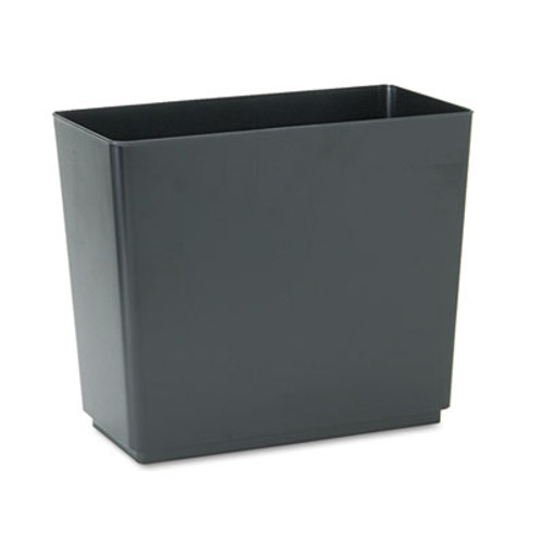 Rubbermaid Designer 2 Wastebasket, Rectangular, Plastic, 6.5gal, Black, 6/Carton (RCP25051CT)