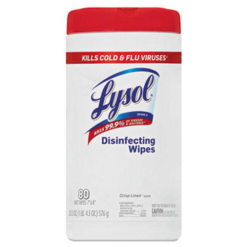 LYSOL Disinfecting Wipes, 7 x 8, White, Unscented, 80/Canister, 6/Carton (RAC92993)
