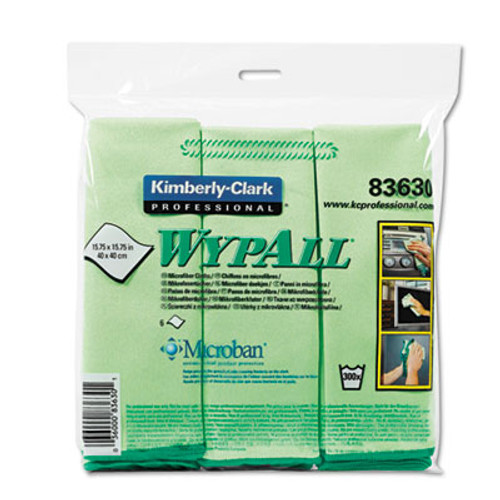 WypAll* Microfiber Cloths, Reusable, 15 3/4 x 15 3/4, Green, 24/Carton (KCC83630CT)