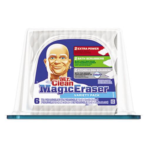 "Mr. Clean Magic Eraser Foam Pad, 2 2/5"" x 4 3/5"", Variety Pk, White/Blue, 6/Pk, 3 Pks/Ctn (PGC80393CT)"