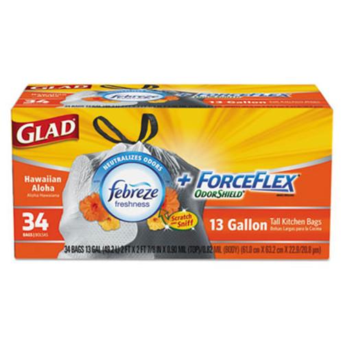 Glad ForceFlex OdorShield Bags, Hawaiian Aloha, 13gal, White, 34/Box, 6 Boxes/Carton (CLO78604CT)