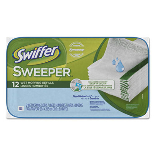 Swiffer Wet Refill Cloths, Open Window Fresh, Cloth, White, 8x10, 12/Tub, 12Tub/Carton (PGC95531CT)