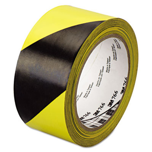 "3M 766 Hazard Warning Tape, Black/Yellow, 2"" x 36yds (MMM02120043181)"
