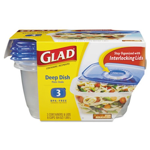 Glad GladWare Deep Dish Food Storage Containers, 64 oz, 3/Pack (CLO70045PK)