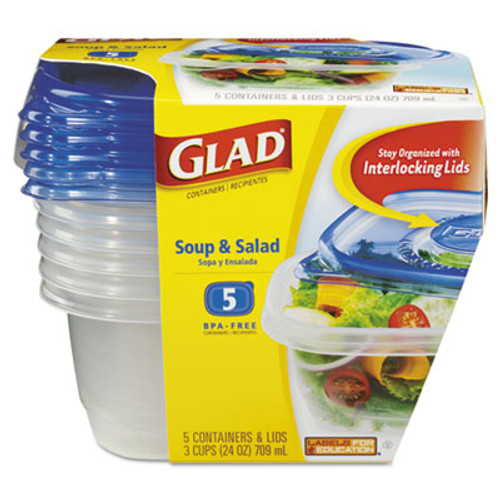 Glad Soup and Salad Food Storage Containers 24 oz, 5/Pack (CLO60796PK)