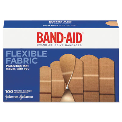 BAND-AID Flexible Fabric Adhesive Bandages, Assorted, 100/Box (JOJ11507800)